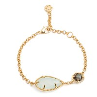 Azuni London Delphi Diametric Bracelet Gold With Aqua Chalcedony And Labradorite