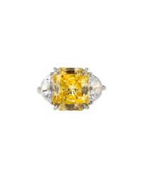 Fantasia Emerald Cut Canary Cubic Zirconia Ring Yellow
