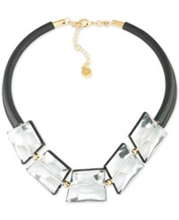 Trina Turk Gold Tone Crystal Nugget Leather Statement Necklace