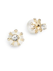 Cara Front To Back Starburst And Glass Pearl Stud Earrings Goldtone Gold Pearl