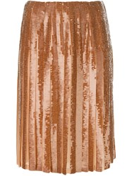 Emilio Pucci Sequined Pleated Skirt Brown