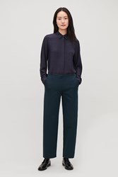 Cos Straight Leg Jersey Trousers Blue