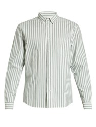 Acne Studios Isherwood Single Cuff Striped Cotton Shirt Green Multi