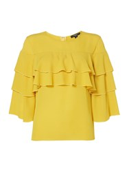 Therapy Zoe Ruffle Sleeve Top Chartreuse