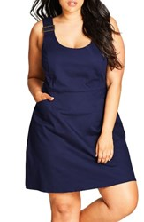City Chic Plus Size Women's Cute Overall Dress Denim Mid