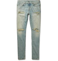 Saint Laurent Skinny Fit 15Cm Hem Distressed Denim Jeans Light Denim