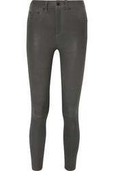 Rag And Bone Leather High Rise Skinny Pants Charcoal