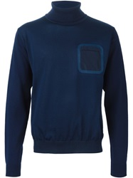 08Sircus Patch Pocket Turtle Neck Sweater Blue