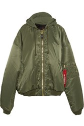 Vetements Alpha Industries Oversized Hooded Reversible Shell Bomber Jacket Army Green