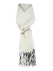 Oui Stripe Fringed Scarf Yellow
