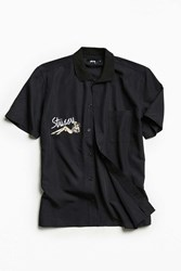 Stussy Garage Knit Collar Short Sleeve Button Down Shirt Black
