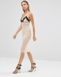 Ax Paris Crochet Plunge Bodycon Midi Dress Nude Cream