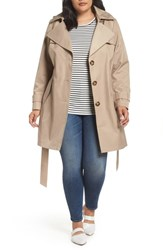 Halogen Plus Size Hooded Trench Coat Khaki