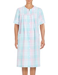 Miss Elaine Plaid Snap Front Sleep Robe Blue