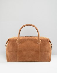 Asos Leather And Suede Holdall In Tan Tan