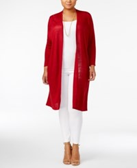 Alfani Plus Size Linen Duster Cardigan Only At Macy's Classic Wine