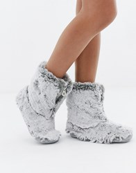 Bedroom Athletics Cole Short Faux Fur Slipper Boot In Grey Arctic Wolf