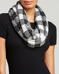 C By Bloomingdale's Block Plaid Loop Scarf Ivory Black Silver