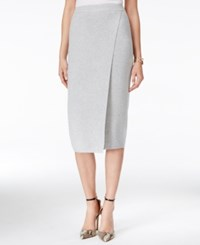 Guess Malaika Faux Wrap Pencil Skirt Heather Light Grey