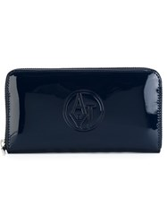 Armani Jeans Embossed Logo Wallet Blue