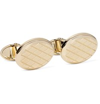 Dunhill Engraved Gold Tone Cufflinks Silver