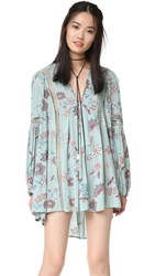 Free People Just The Two Of Us Printed Dress Blue