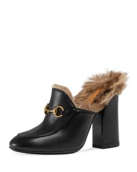 Gucci Princetown Fur Lined High Heel Mule Black