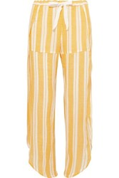 Lemlem Doro Fly Away Asymmetric Striped Cotton Blend Gauze Pants Yellow