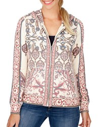 Lucky Brand Printed Cotton Zip Front Hoodie Cream