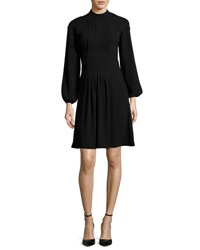 Co Long Sleeve Pleated Front Dress Black