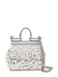 Dolce And Gabbana Micro Sicily Crystals Embellished Bag White