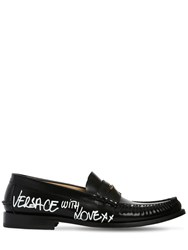 Versace Leather Loafers W Graffiti Printed Logo Black White