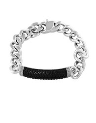 Effy Sterling Silver And Ruthenium Cuban Chain Bracelet Black