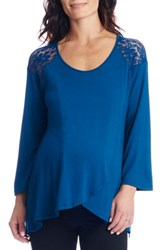 Everly Grey Women's Aaliyah Wrap Front Maternity Nursing Top Teal