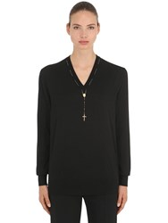 Dolce And Gabbana Cashmere Knit Sweater W Rosary Black