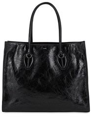 Tod's Cracle Leather Tote Bag Black