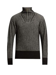 Tomas Maier Zip Through Wool Sweater Black Multi