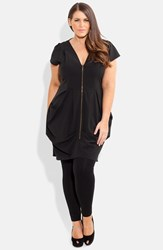 Plus Size Women's City Chic Front Zip Pleat Tunic Black W Gold Zipper