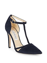 Saks Fifth Avenue Made In Italy Emma Suede T Strap Point Toe Pumps Navy
