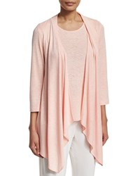 Caroline Rose Gauze Knit Open Front Cardigan Women's Blush