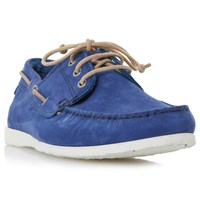 Dune Belize Nubuck Lace Up Boat Shoes Blue