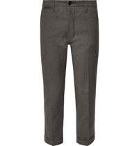 Visvim High Water Slim Fit Tapered Linen Blend Trousers Charcoal
