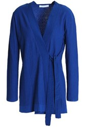 Sandro Ribbed Cotton Silk And Cashmere Blend Wrap Sweater Bright Blue