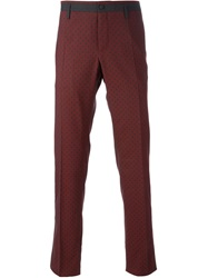 Dolce And Gabbana Polka Dot Piped Trousers Red
