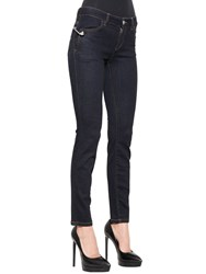 Versus Skinny Safety Pin Stretch Denim Jeans Blue