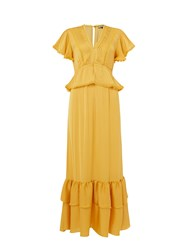 Biba Pom Pom Detail Maxi Dress Yellow