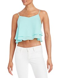 Design Lab Lord And Taylor Cropped Ruffled Tank Top Mint