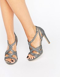 New Look Glitter Twist Front Heeled Sandal Silver