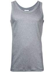 Estnation Scoop Neck Vest Men Cotton Lyocell L Grey