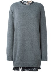 N 21 No21 Jeweled Collar Sweater Dress Grey